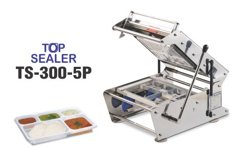Top sealer for 5 compartment tray