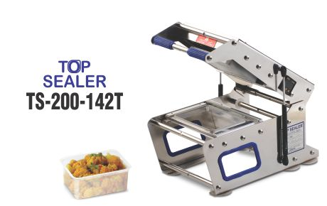 Top sealer for rectangular boxes